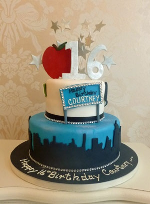 Birthday cakes cake ideas 18th birthday number new york themed