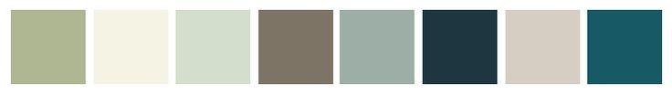 """Valspar Color Outlook: 2014 Color Trends — Zenergy (""""A movement has begun of simplifying our surroundings. Minimalism creates space for new energy. Restoration and balance inspire the Zenergy palette."""") (The colors are, from left: Hazy Jade [6001-3C], Possibility [5007-1A], Winter in Paris [5002-1A], Seine [6005-2B], Blue Arrow [5001-3C], Everglade Deck [5011-3], Modest Silver [4002-1A] and Night Scape [5002-8C].)"""
