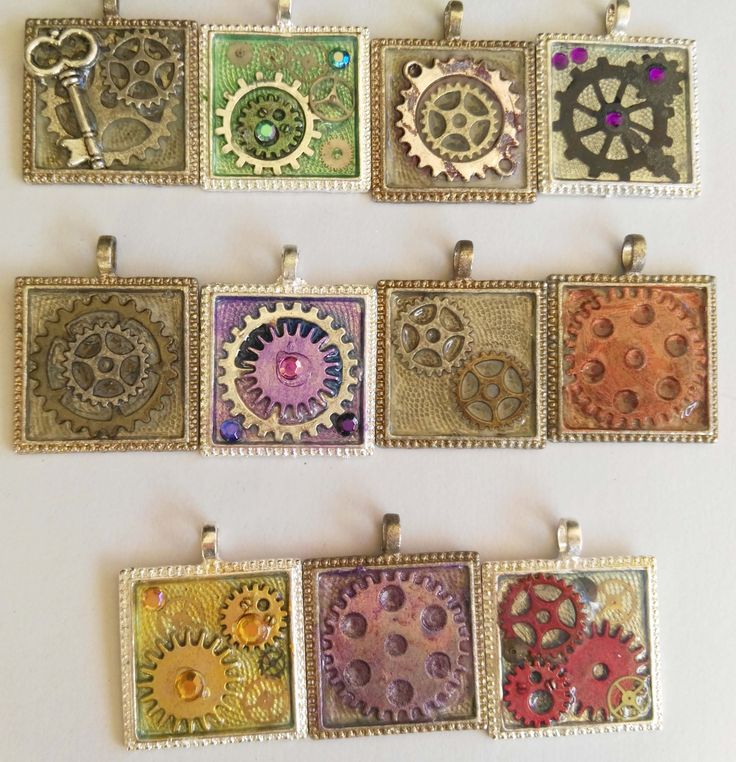 Steampunk Pendants Square Steampunk Handcrafted