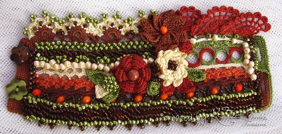 Crochet cuff Crochet bracelet Beaded by KSZCrochetTreasures