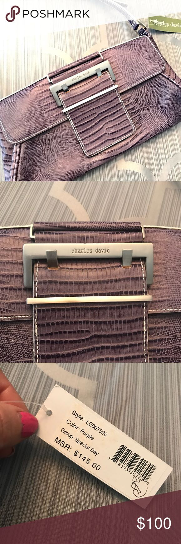 Charles David Purse Shoulder Bag Special Bag Charles David Purse Shoulder Bag Special Bag Purple there is an imperfection on handle. See photo. Other listing un that bag is great new with tags Charles David Bags