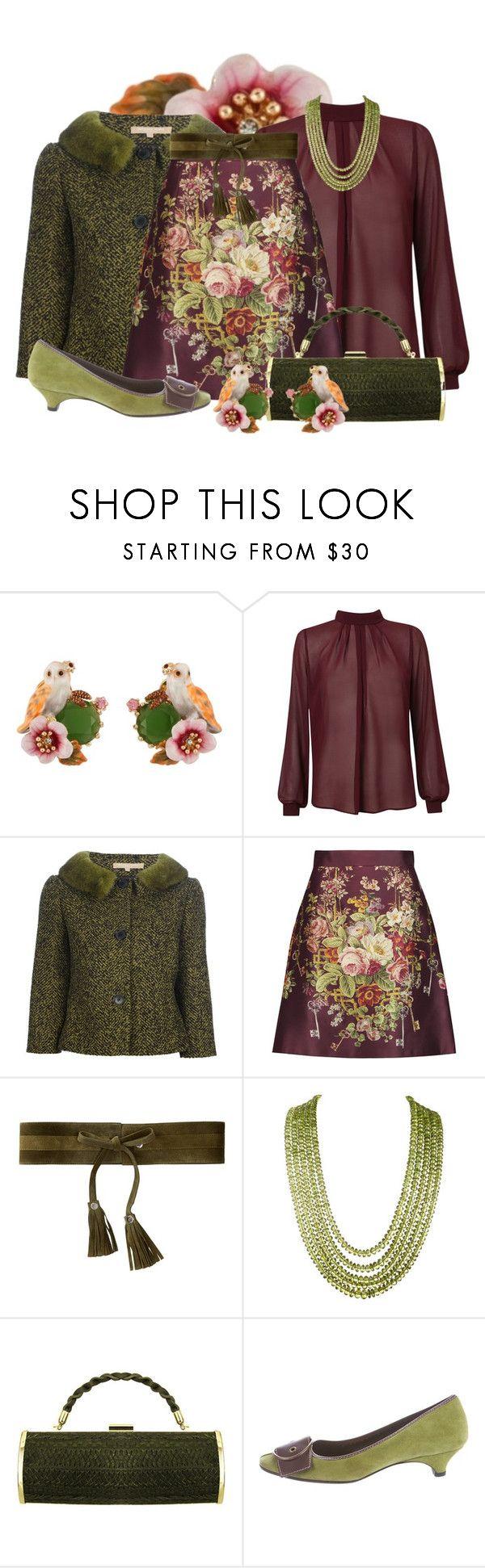 """Dolce & Gabbana Printed silk and wool-blend satin mini skirt"" by twinkle-misfit ❤ liked on Polyvore featuring Les Néréides, Michael Kors, Dolce&Gabbana, J.J. Winters, KOVA and Miu Miu"