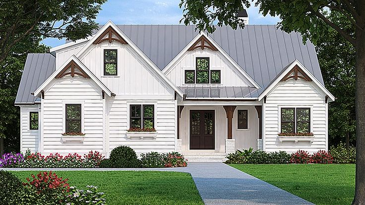 Home Plan HOMEPW78211 - 2205 Square Foot, 3 Bedroom 2 Bathroom   Farmhouse Home with 2 Garage Bays | Homeplans.com
