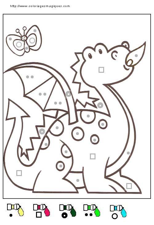 coloriage magique dragon, niveau maternelle
