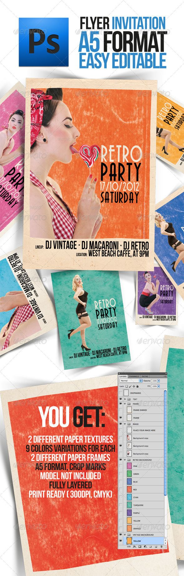best images about print templates fonts adobe party retro pin up flyer a5 format