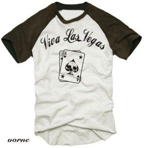 Coole Fun T-Shirts VIVA LAS VEGAS Poker t-shirt Druck vorne karten baseball, Grösse: L