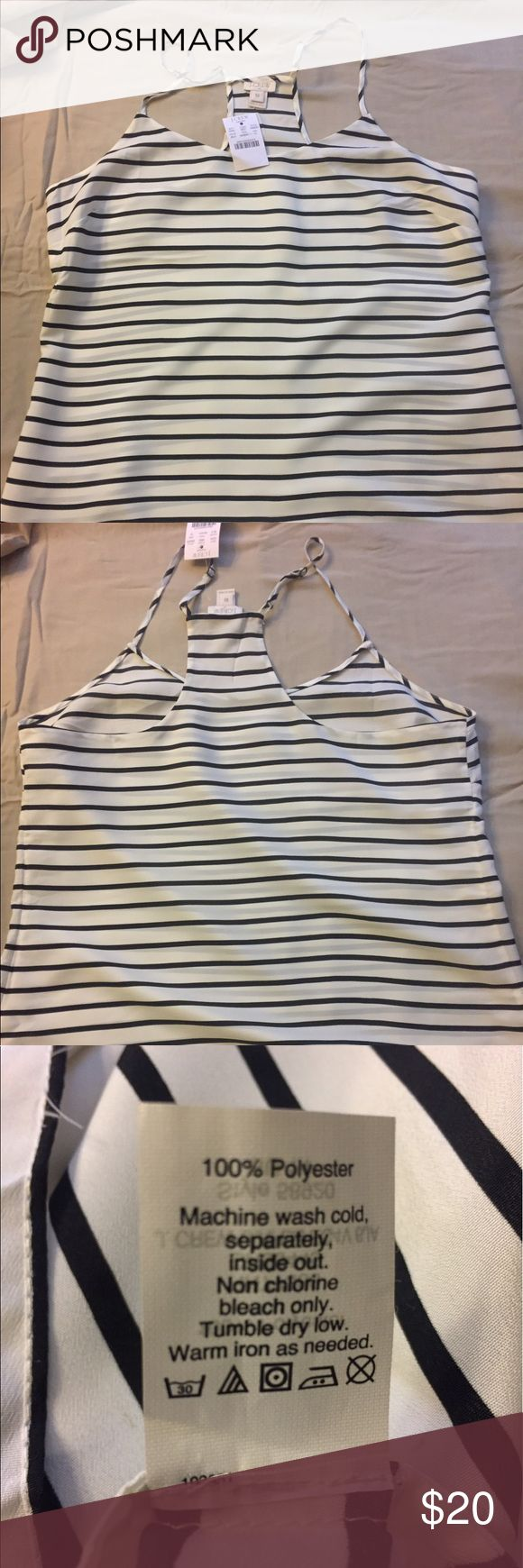 Adorable black and white striped J. Crew tank top Cute tank top. Looks great with lack jeans and heels. Full disclosure.. not great for bustier ladies.  But snug in the chest area without much stretch. Never worn. J. Crew Tops Tank Tops