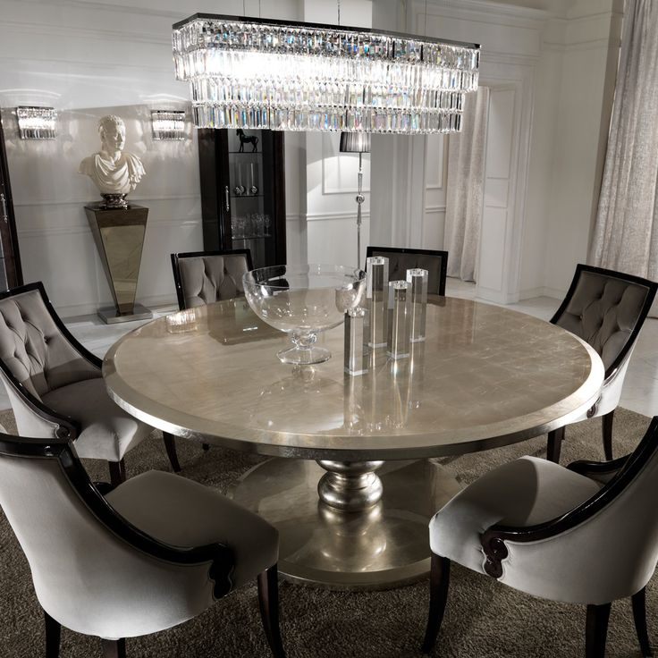 Large Round Italian Champagne Leaf Dining Table And Chairs Set At Juliettes Interiors