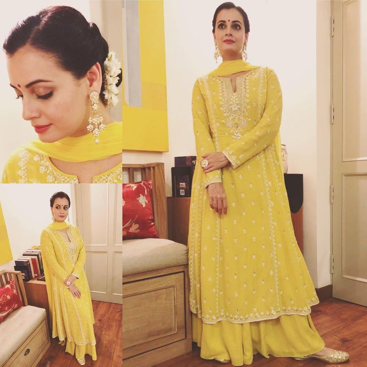 "11k Likes, 95 Comments - Dia Mirza (@diamirzaofficial) on Instagram: ""Hello Yellow! Tap for credits. #Desi #Festive #Handcrafted #DressUp"""