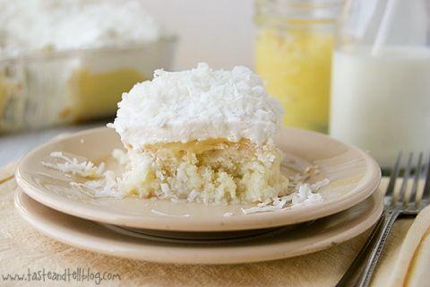 Coconut and Lemon Poke Cake   www.tasteandtellblog.com