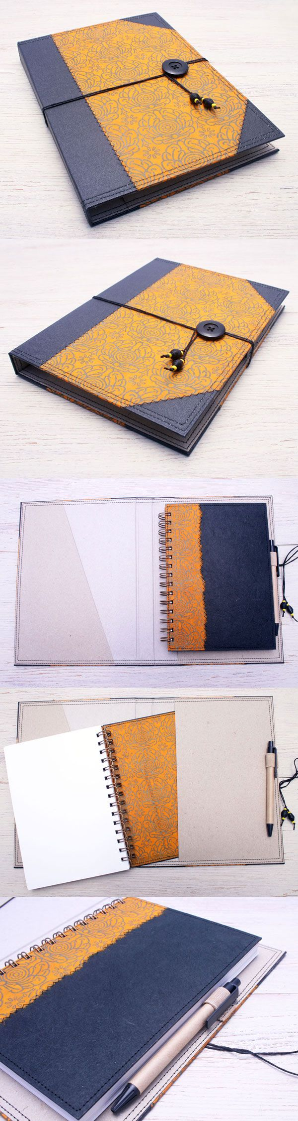 Yellow Lotus Notebook Cover Folder with notebook and pen included. Handcrafted from eco friendly materials by Little Deer Studio