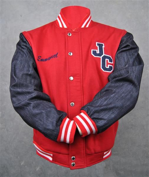 Justice Crew red and blue denim sleeve custom baseball jackets
