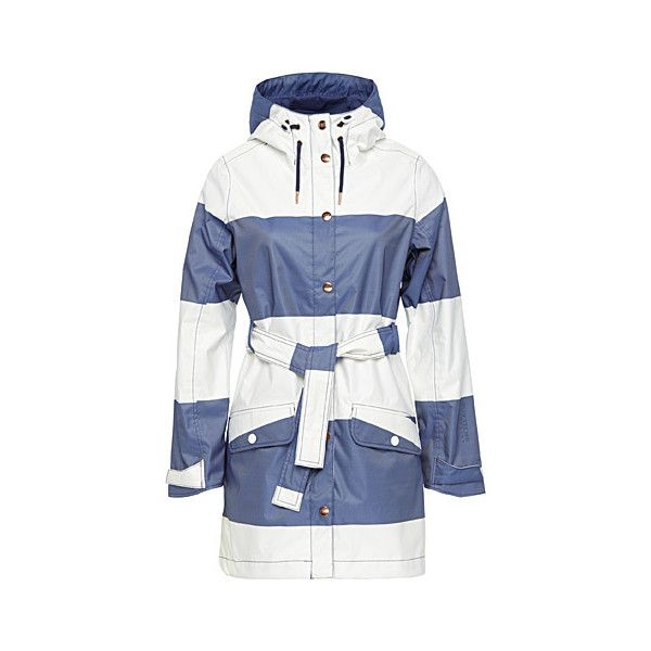 Helly Hansen Belted Lyness raincoat ($140) ❤ liked on Polyvore featuring outerwear, coats, water proof coat, belted raincoat, waterproof raincoat, blue raincoat and faux coat