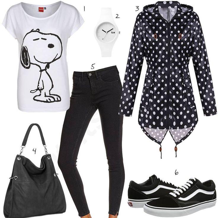 Schwarz-Weißes Damen-Outfit mit Snoopy Shirt (w0484) #outfit #style #fashion  #womenswear #womensfashion #inspiration #cloth #clothing #shirt #womensstyle #damenmode #frauenmode #mode #styling #sneaker #dress #summerstyle