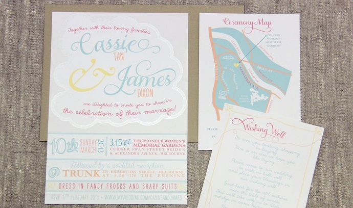 Quirky Wedding Invitation: Quirky Wedding Invitation With Silver Lining Cloud Www