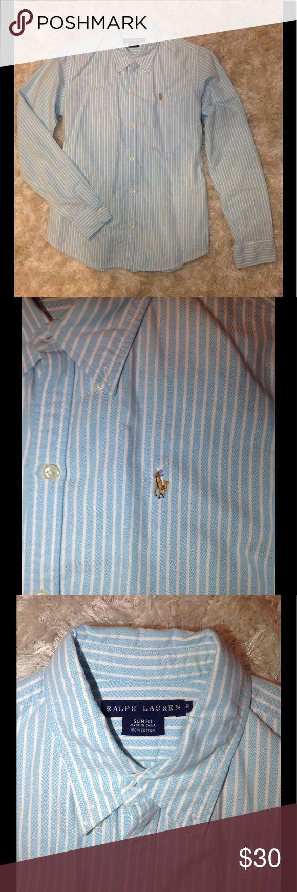 Ralph Lauren oxford Light aqua blue and white striped woman's oxfo, lightly worn Ralph Lauren Tops Button Down Shirts