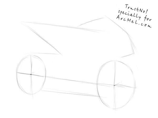 How to draw a motorbike step 1