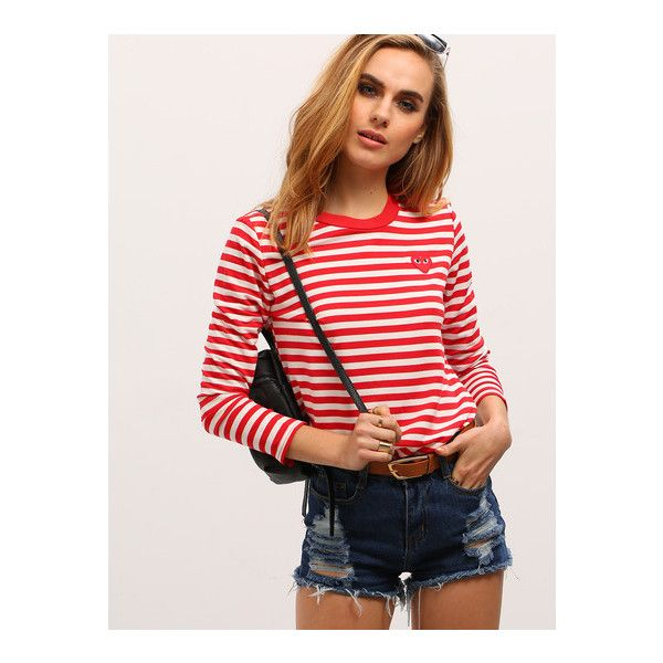 SheIn(sheinside) Red White Long Sleeve Striped T-Shirt ($14) ❤ liked on Polyvore featuring tops, t-shirts, red, white stripes t shirt, long sleeve tees, long sleeve tops, red long sleeve t shirt and long sleeve white t shirt