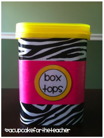 A Cupcake for the Teacher-Nesquick container covered in zebra paper using Mod Podge