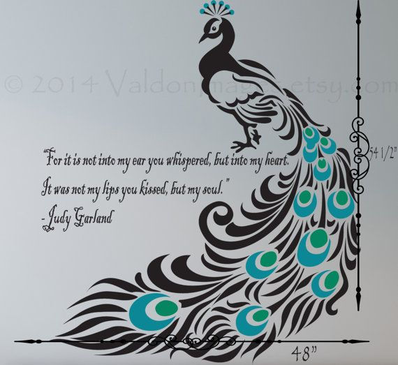Peacock wall decal love quote decal wall by ValdonImages on Etsy