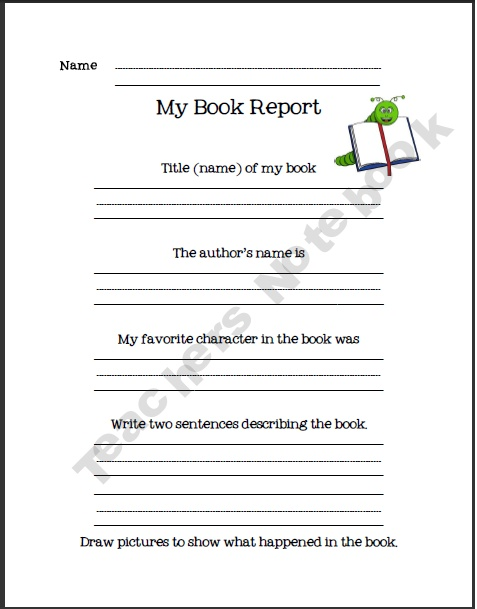 English Language Arts - Book Report Forms