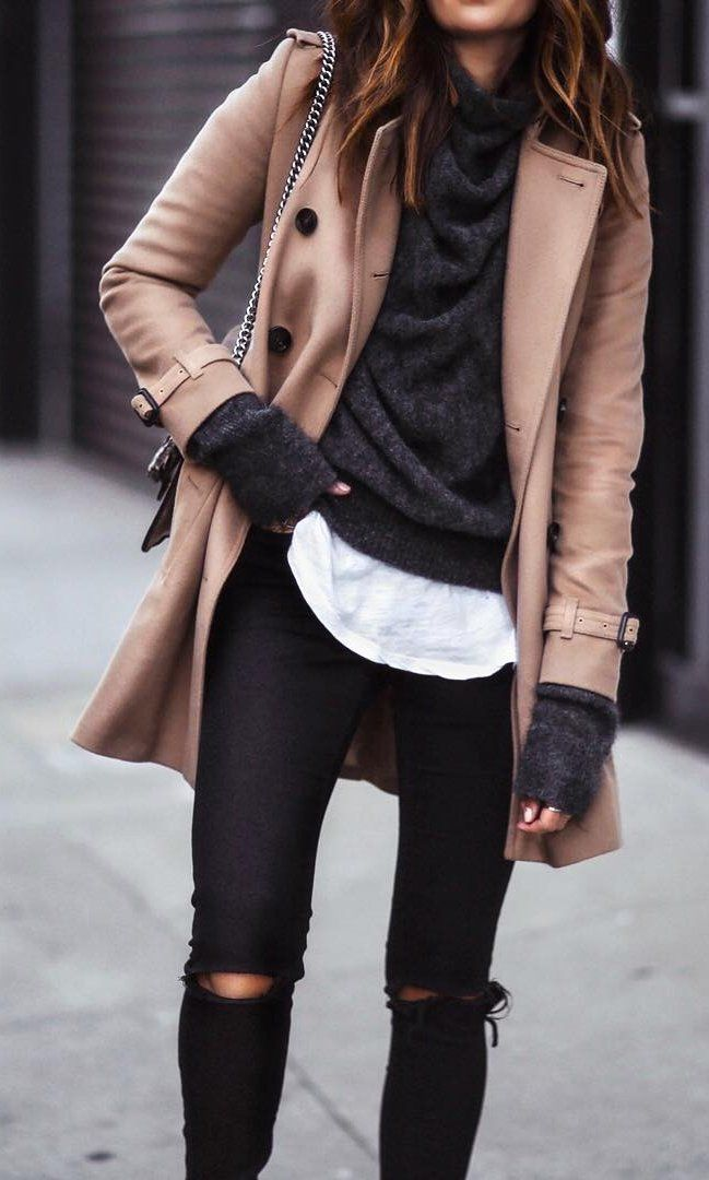 #fall #outfits ·  Camel Coat + Black Ripped Jeans + Dark Sweater
