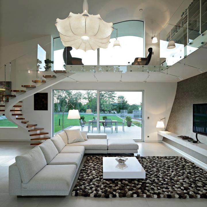 Interior con cierto aire a la Villa Jeanneret de Le Corbusier
