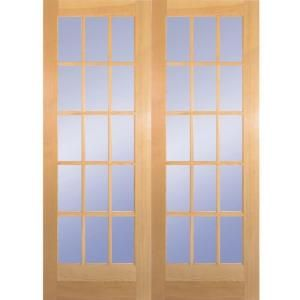 Builder 39 s choice 60 in wood prehung clear pine 15 lite for Home depot prehung french doors