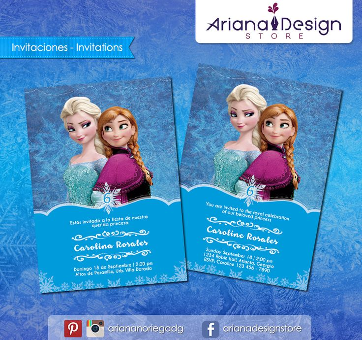 #printable #invitation #frozen #disneyprincess #arianadesignstore #invitacion #fiestainfantil #cumpleaños