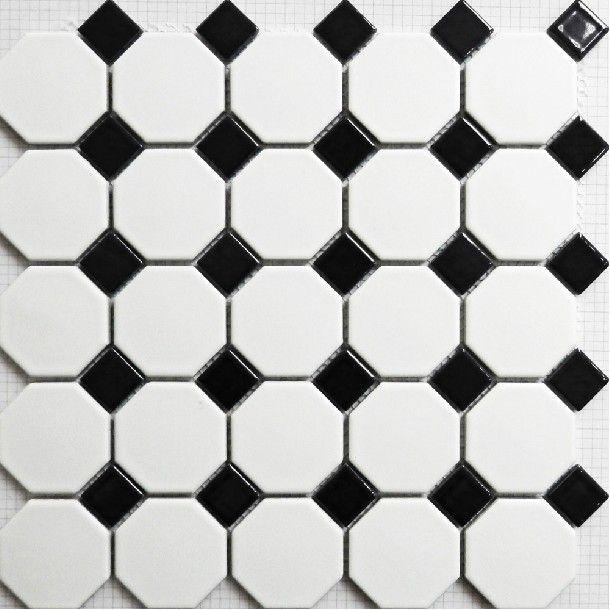 Tuile de mosa que en noir et blanc mat puzzle parquet for Salle de bain carrelage noir et blanc