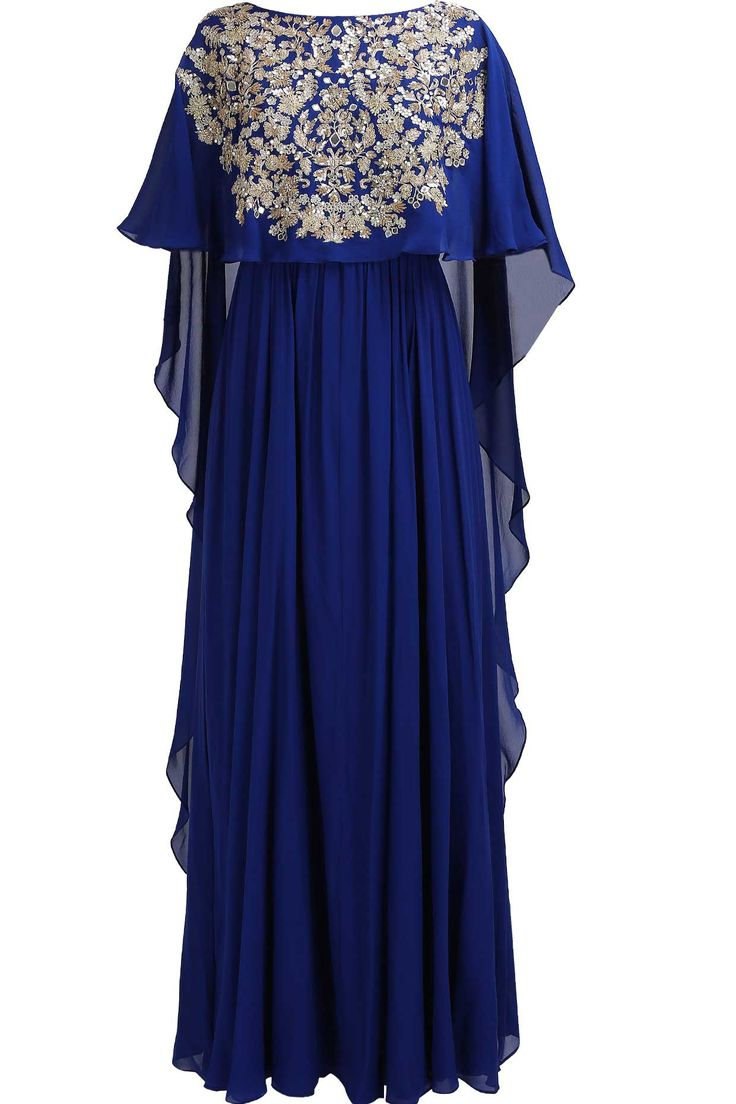Classic blue embroidered cape kaftan kurta available only at Pernia's Pop Up Shop.