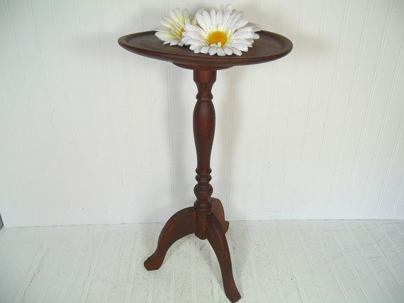 Antique Wood Round Candle Stand Table Vintage Carved