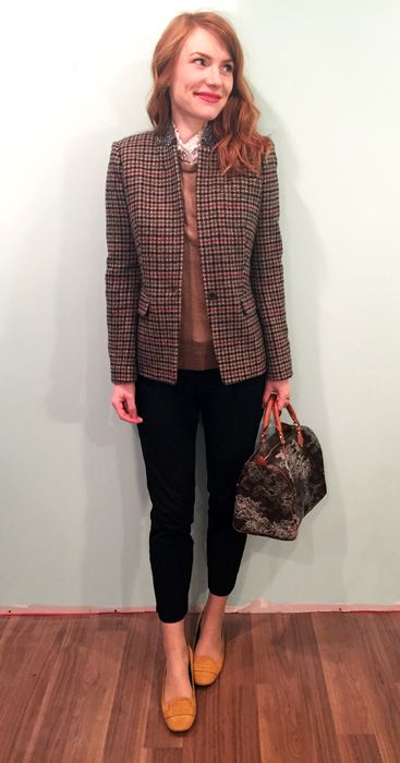Blazer, J. Crew; top & sweater, J. Crew Factory; pants, BR; shoes, Tod's; bag, Louis Vuitton (via consignment)