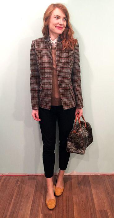Blazer, J. Crew; top & sweater, J. Crew Factory; pants, BR; shoes, Tod's; bag, Louis Vuitton (via consignment)
