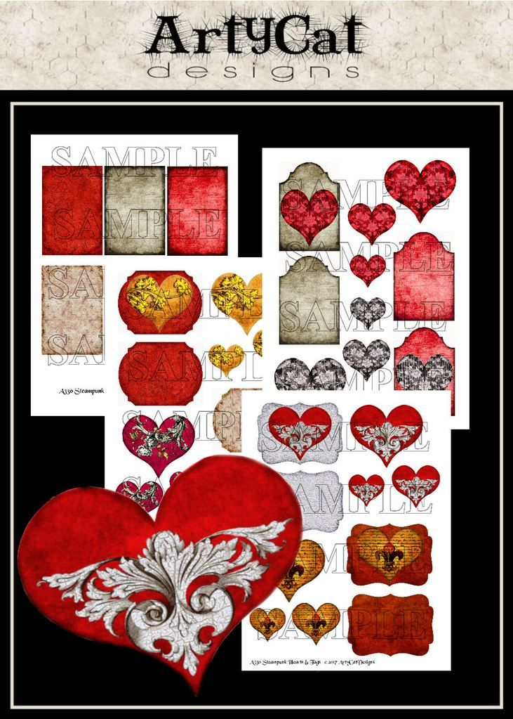 Steampunk Hearts and Tags Digital Collage Elements Get your steampunk on with this set of printable grunge hearts, tags, ATC backgrounds and elements for digital altered art, decoupage, Valentine card making. #SteampunkElements #GothHearts #PrintableDownload #ArtyCatDesigns