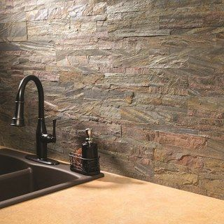 Aspect 6 x 24-inch Weathered Quartz Peel and Stick Stone Backsplash - 18822679 - Overstock - Big Discounts on Backsplash Tiles - Mobile