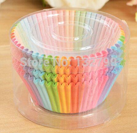 100 pcs do arco-íris xícaras de bolo de papel queque forros Wrapper casos Baking Muffin sobremesa DIY decorações da festa de casamento