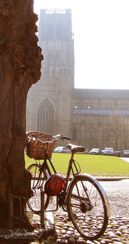Bike outside Durham Cathedral, North East England
