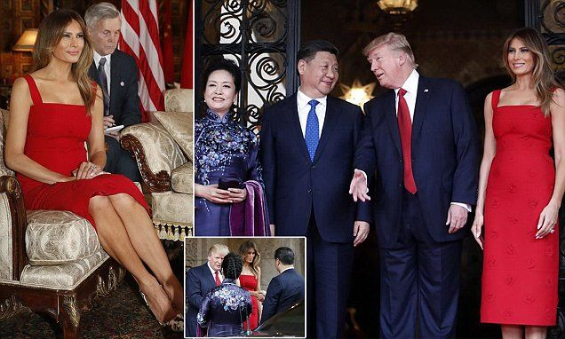 President Donald Trump and first lady Melania Trump stood at the doors of the president's Mar-a-Lago resort to officially welcome Chinese President Xi Jinping and his wife, Peng Liyuan.