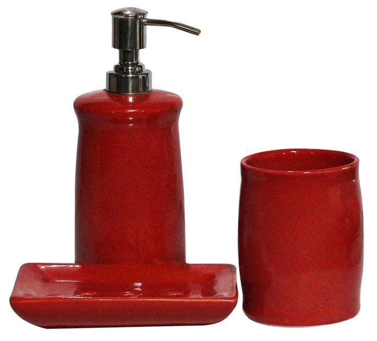 Bulk Wholesale Set of 3 Bathroom Accessories in Red Color – Handmade in Ceramic – Unique Bath Décor