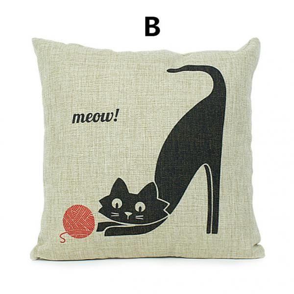 Creative cat throw pillow 18 in comfortable linen cushions