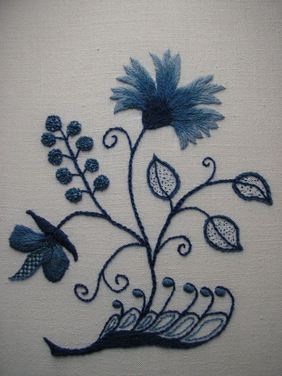 Blue and White Crewel Embroidery, Colonial Deerfield Massachusetts Design.