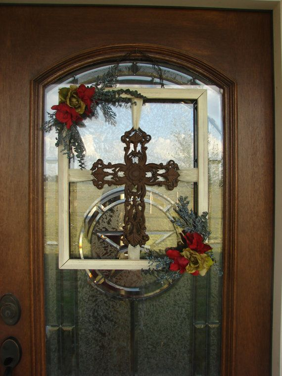 picture frame wreath | outdoor rustic cross picture frame wreath by framedchicboutique