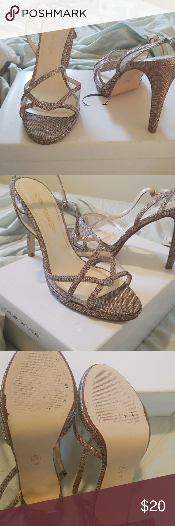 """Lightly worn Caparros Gillian Gold Heels Size 9 Caparros Gilliam heels in """"Champange Sparkle"""". Heel height is 3.75 inches. Caparros Shoes Heels"""