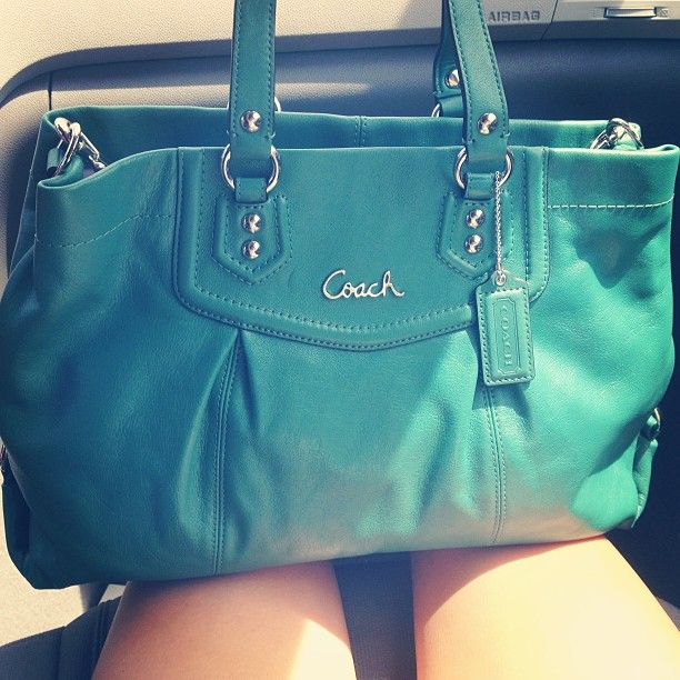 Coach love leather teal