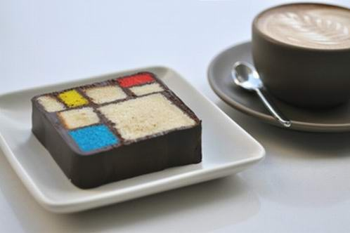 "(""Modern Art Desserts"" by Caitlin Freeman) Mondrian Cake and Cappuccino at Blue Bottle Coffee Bar, SFMOMA; photo: Charlie Villyard"