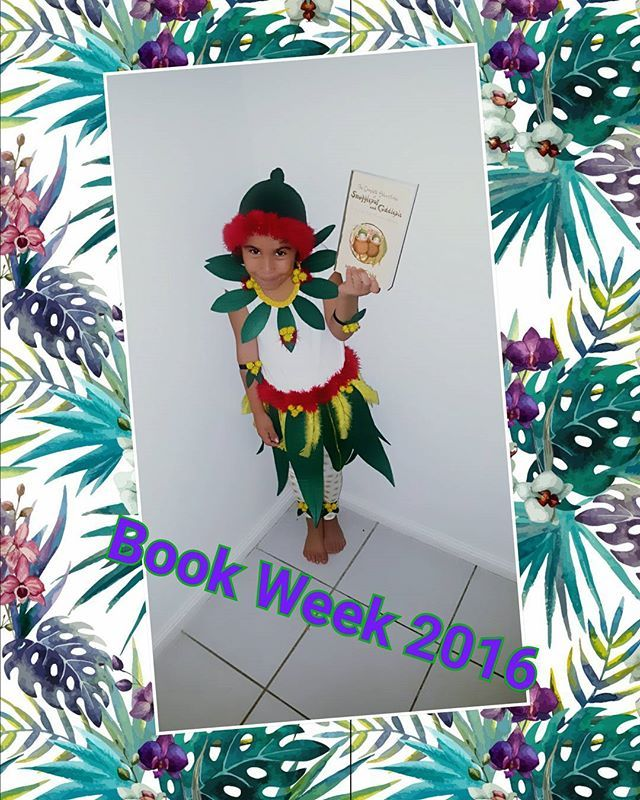 """Kids had to dress up as a character from an Australian book this year.. We decided to go with one of my old favourites """"The Adventures of Snugglepot and Cuddlepie"""". With a bit of Improvising we made a Gum nut blossom costume.. The best part is re-reading the book as an adult now with my little girl. It might take us a month to get through but thats okay lol  #bookweek #maygibbs #snugglepot #cuddlepie #costume #diy #australianauthors #classicbooks #school"""