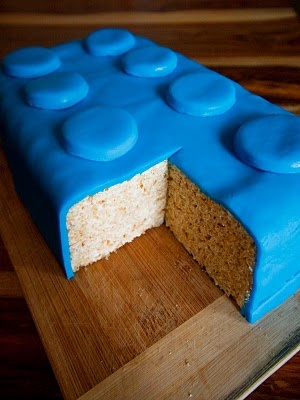 Rice Krispie Treat cake with fondant layer to make it look like a LEGO!  Great idea.