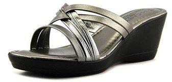 Easy Street Shoes Luisa Women Open Toe Synthetic Gray Wedge Sandal.