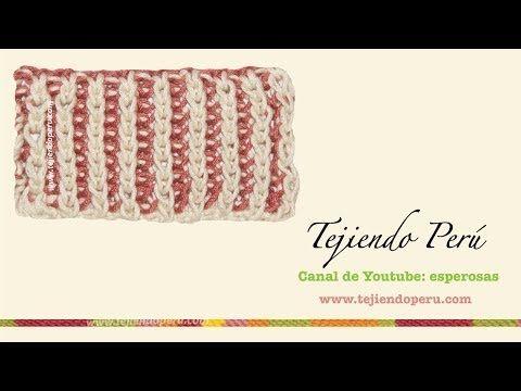 Dos agujas: cómo tejer el punto inglés en dos colores - YouTube